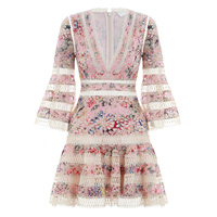 New 2018 spring summer Australian holiday wind high density hollowed embroidery dream stamp dress