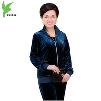 New Middle Aged Lady Sets Spring Gold Velvet Tracksuits Two Piece Set Mother Casual Wear Plus