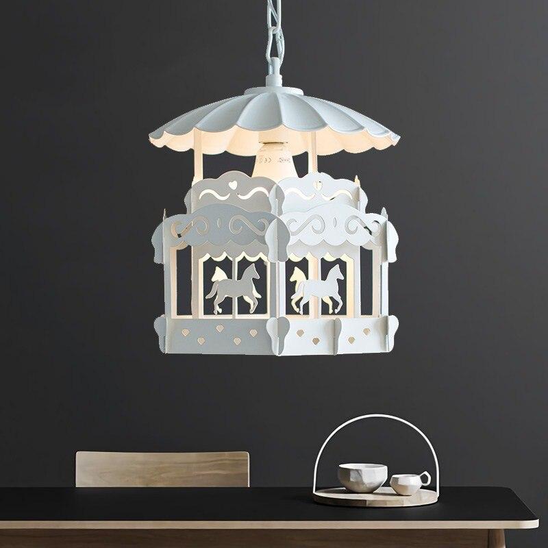 Nordique moderne minimaliste carrousel chambre d'enfants lustre personnalité créative salon chambre princesse lampe affranchissement gratuit - 5