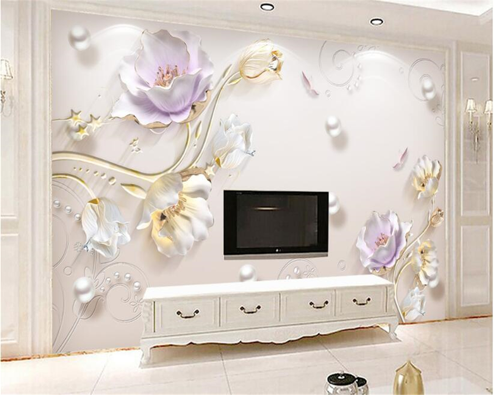 beibehang Jewelry embossed classic wall paper simple and stylish new Chinese tulip background wall papel de parede 3d wallpaper beibehang pure paper wall paper nordic lotus abstract sketch papel de parede wallpaper art background bedroom new chinese style