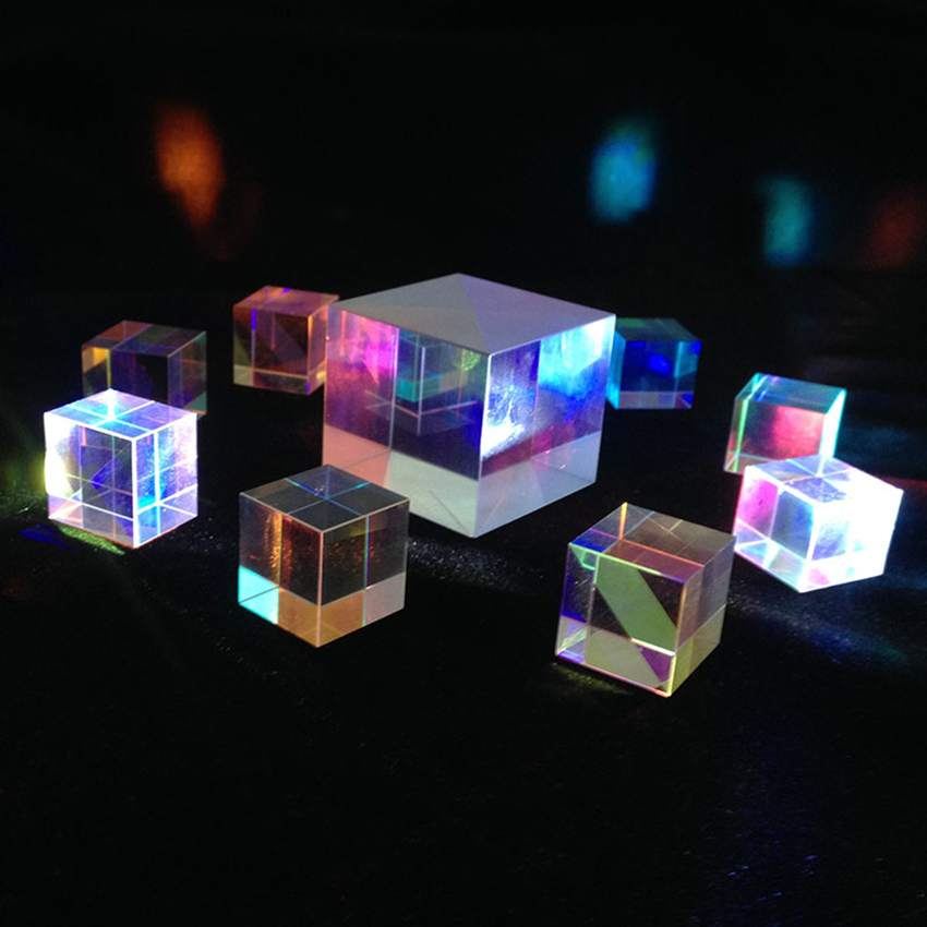 15x15mm Six-Sided Bright Prism Light Combine Cube Prism Stained Glass Beam Splitter Optical Experiment Instrument Teaching Tool