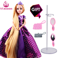 UCanaan 30CM Sweet Princess Dolls Rapunzel Toys For Girls Joint Moving Body Beauty Thick Full Long Blonde Hair Doll For Children