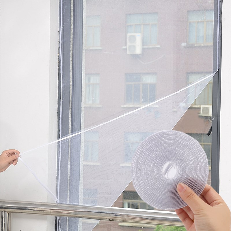 NEW 2Pcs/Set DIY Door Window Gauze Net Mesh Netting Insect Fly Bug Screen Curtain Mosquito Net Protector White Tulle Magic Tape