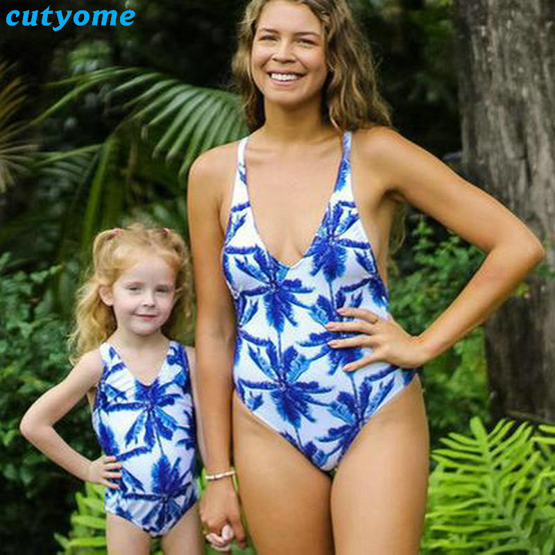 Mother Daughter Father Son Swimsuits Blue Family Look Mom And Daugher Daddy Parent Child Bikini Bathing Swimwear Summer Clothes (5)