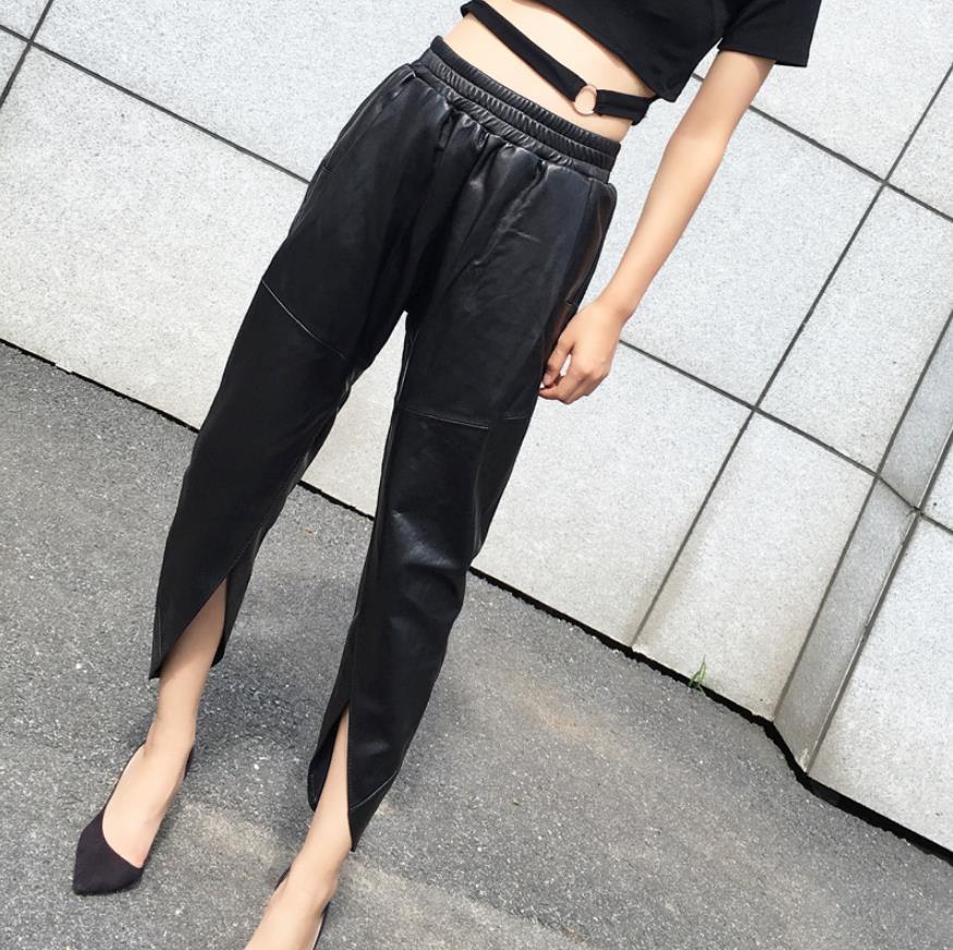 Модные разделение Дизайн Натуральная овечья кожа брюки для девочек модные женские эластичные на талии для отдыха полые вырезать кожаные шт