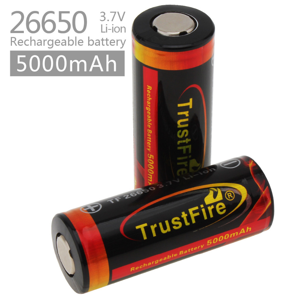 2017 NEW Genuine Original Trustfire 26650 Protected 5000mAh 3.7V Li-ion Rechargeable Battery 2PCS/LOT rechargeable 1500mah 3 7v 26650 li ion battery brown