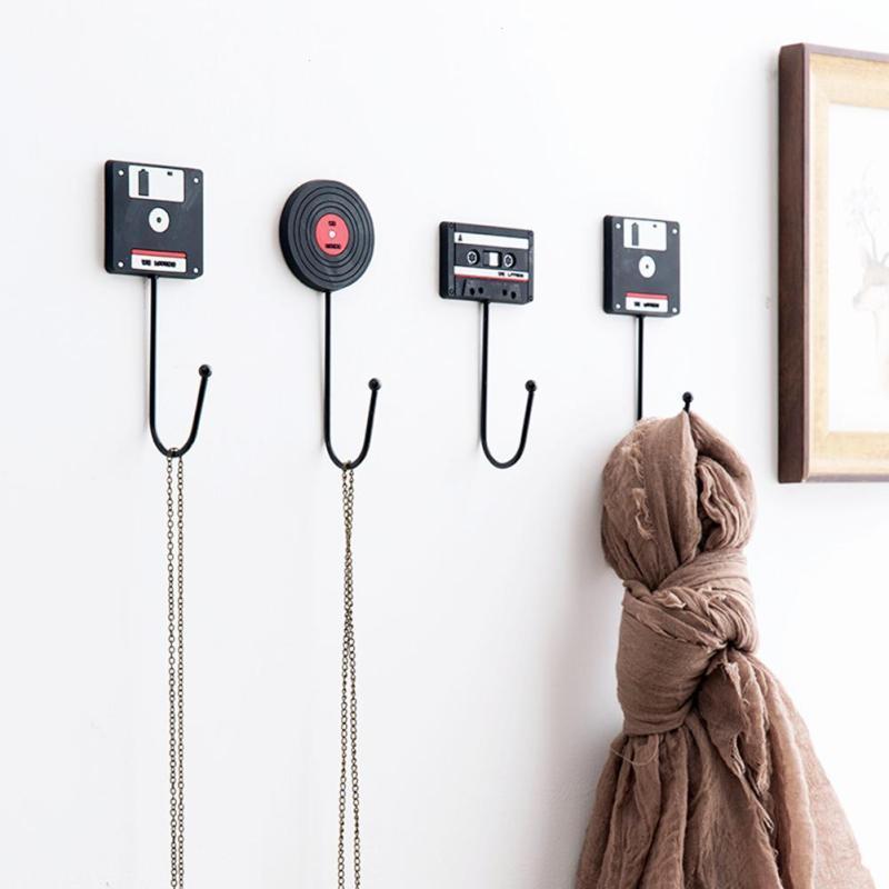 Minimalist Home Decoration Retro Tape Disk Hanger Decorative Wall Hooks Clerk On The Wall Coat Key Holder Rack Housekeeper A20