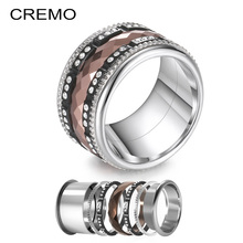 Cremo Titanium Black Rings Stackable Interchangeable Band Brown Section Stainless Steel Shining Wedding Ring Anillos Mujer