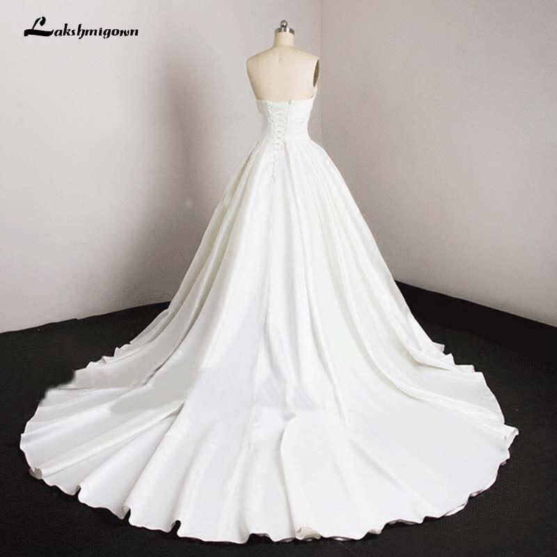 A Line Simple Wedding Dresses: Aliexpress.com : Buy Lustrous Satin White Bridal Gown