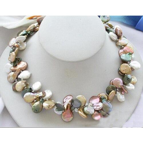 Collier de perles d'eau douce, 2Row 18 ''15mm pièce multicolore bijoux de perles de culture d'eau douce, cadeau de fête de mariage pour femmes - 2