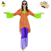 Для женщин цветок хиппи костюмы с Брюки взрослых Карнавальные funky вечерние Мода рокер имитация наряды для музыкальных фестивалей