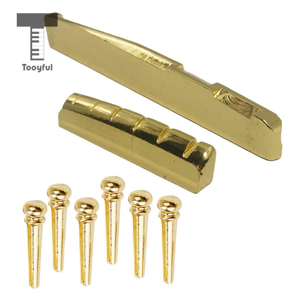 цены Tooyful Brass Bridge Pins Peg Saddle Nut Set for 6-String Acoustic Guitar Accessory