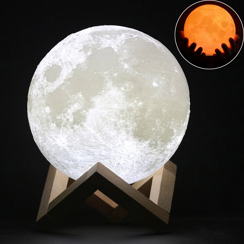 LED Rechargeable 3D Print Moon Lamp 2 Color Change Touch Switch Bedroom Bookcase Night Light Home Decor Creative Gift цены онлайн