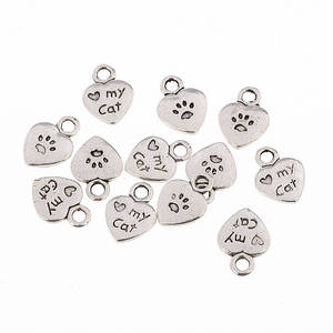 Alloy-Charms Word Tibetan Silver Heart Bracelets Cat for Making DIY 10pcs Footprints