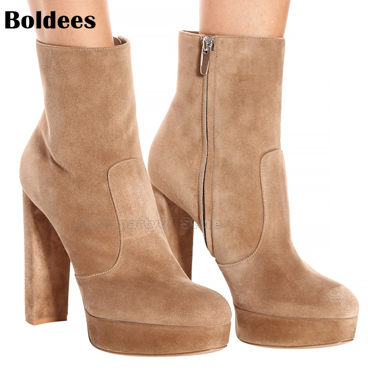 Trendy Designer Suede Chunky Block High Heel Ankle Boots Woman Platform Side Sipper Comfortable Short Boots Plus size 34 to 43 womens high boots vogue side zipper botas invierno mujer fashion buckle block chunky heel sapatos mulher suede size us 4 10 5