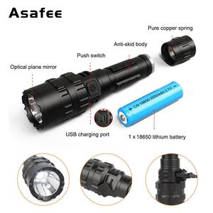Image 3 - Asafee BC02  LED Tactical Flashlight Ultra Bright USB Rechargeable Waterproof Scout light Torch Hunting light 5 Modes by 1*18650