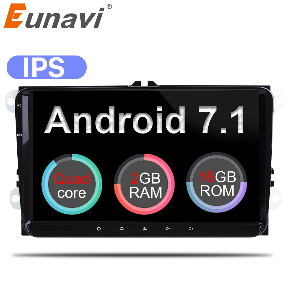 Eunavi 2 Din 9'' Android 7.1 Quad core car radio stereo GPS for VW Polo Jetta Tiguan passat b6 cc fabia mirror link bluetooth eunavi 2 din 9 android 8 0 4g ram car radio stereo gps navi for vw passat b6 cc polo golf 5 6 touran jetta tiguan magotan seat