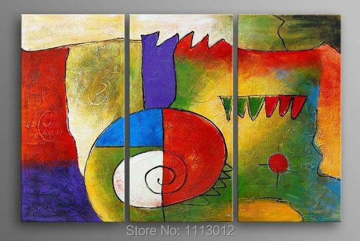 100% ручной Краски 3 предмета набор мультфильм маслом украшения Краски ing на холсте современного дома стены картину на стене гостиная распрод...