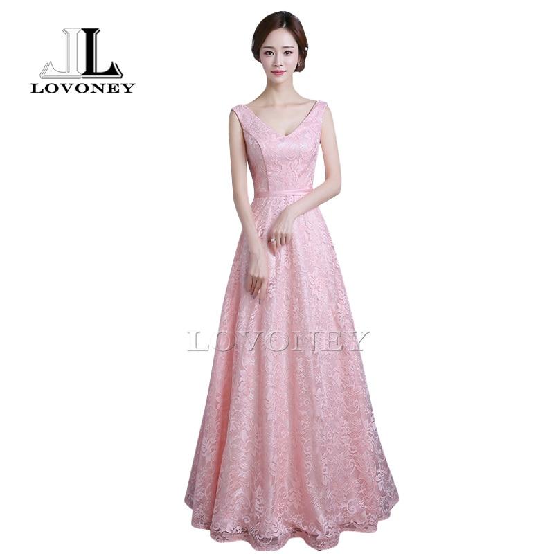 LOVONEY S307 New Arrival Elegant A-Line V-Neck Long   Prom     Dresses   2019 Lace Formal   Dress   Party Gown Robe De Soiree Longue