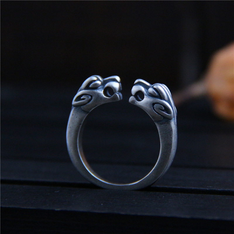 C&R Pure S999 Sterling Silver Rings for Women Vintage personalized handmade silver double leopard head beast ring Fine Jewelry