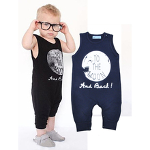 Retail To The Moon Boy Girl Romper Sleeveless Baby Clothes 2016 Summer Letter Pattern Infant Jumpsuits&Rompers infantil fantasia
