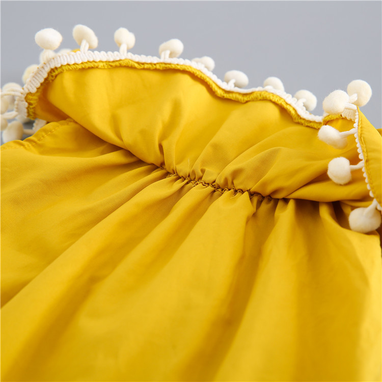4e3c96dc36e2 Summer Ruffle Collar Baby Girls Fashion Pompom Yellow Romper Outfit-in  Rompers from Mother   Kids on Aliexpress.com