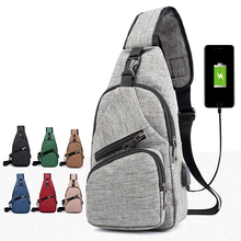 5PCS / LOT Anti-theft Chest Bag Fashion Crossbody Sling USB Charging Single Shoulder Men Women Small Pack