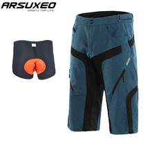 ARSUXEO Men's Outdoor Sports Cycling Shorts Quick Dry Downhill MTB Shorts Water Resistant Mountain Bike Shorts Adjustable Waist arsuxeo men s outdoor sports cycling shorts downhill mtb shorts protective padded shorts for skiing snowboarding