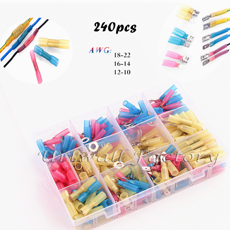 240pcs Ring Spade Fork Waterproof Wire Solder Assortment Insulated Crimp Terminals Electrical Heat Shrink Butt Connectors Kit 240pcs electrical crimp piggy back terminals set insulated cable butt splice terminators kit heat shrink spade wire connectors