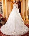 Fantástico A Linha de Vestidos de Casamento 2016 Catedral/Royal Train V Neck Cristal Beading Vestidos de Noiva Venda Quente
