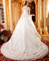 Fantastic A Line Wedding Dresses 2016 Cathedral/Royal Train V Neck Crystal Beading Bridal Gowns Hot Sale