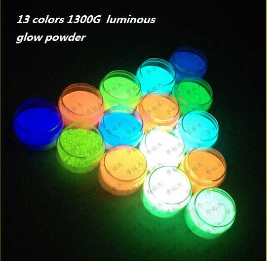 13 colors1300G 13pieces/lot luminous glow powder super bright fluorescent powder luminous Acrylic paint DIY Noctilucent powder luminous glow sand super bright noctilucent sand diy wishing sand 50g lot glow in the dark for wishing glass bottle