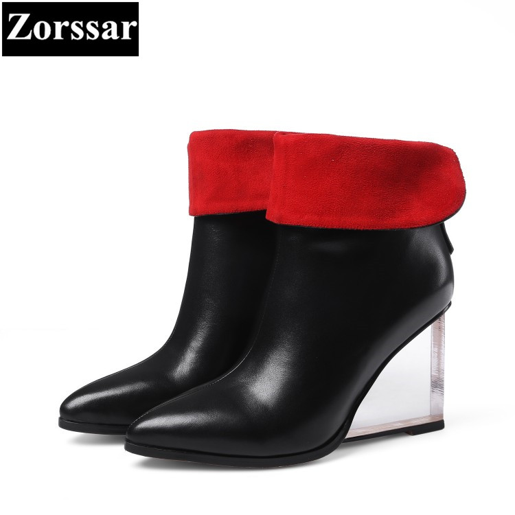 {Zorssar} 2017 NEW large size ladies shoes pointed Toe wedges ankle boots Fashion crystal  High heels womens short boots winter 2015 new design womens wedges heels pumps fashion pointed toe wood heel single shoes large size thick heels ladies shoes 34 43