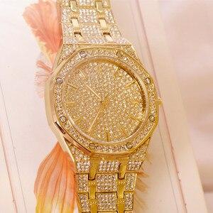 Image 4 - 2019 relógio masculino feminino pulseira de cristal ouro/prata chapeado grande dial senhores senhoras brilhando vestido quartzo relógio de pulso horas