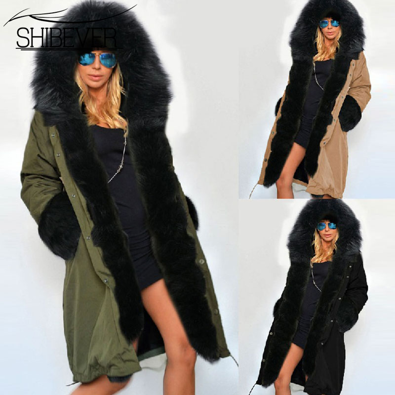 SHIBEVER Fashion Women Coats Jacket Winter Casual Women Parka Solid Fur Collar Coats Female Ladies Cotton Jackets Outwear HJT604 shibever new cotton women winter coat ladies casual jacket women warm thick winter parka female outwear clothing for girl cjt142
