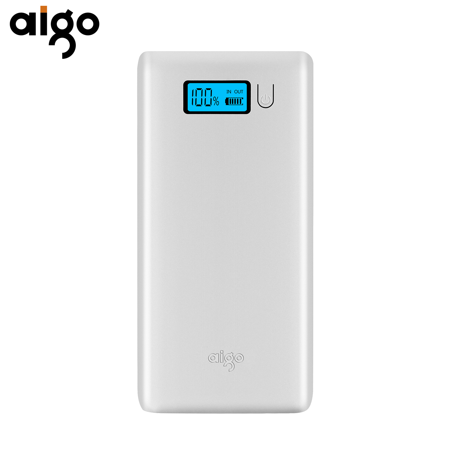 Aigo Power Bank 20000mAh Dual USB External Battery LCD Display LED Light Powerbank Portable Bateria Externa for Xiaomi Mi Meizu