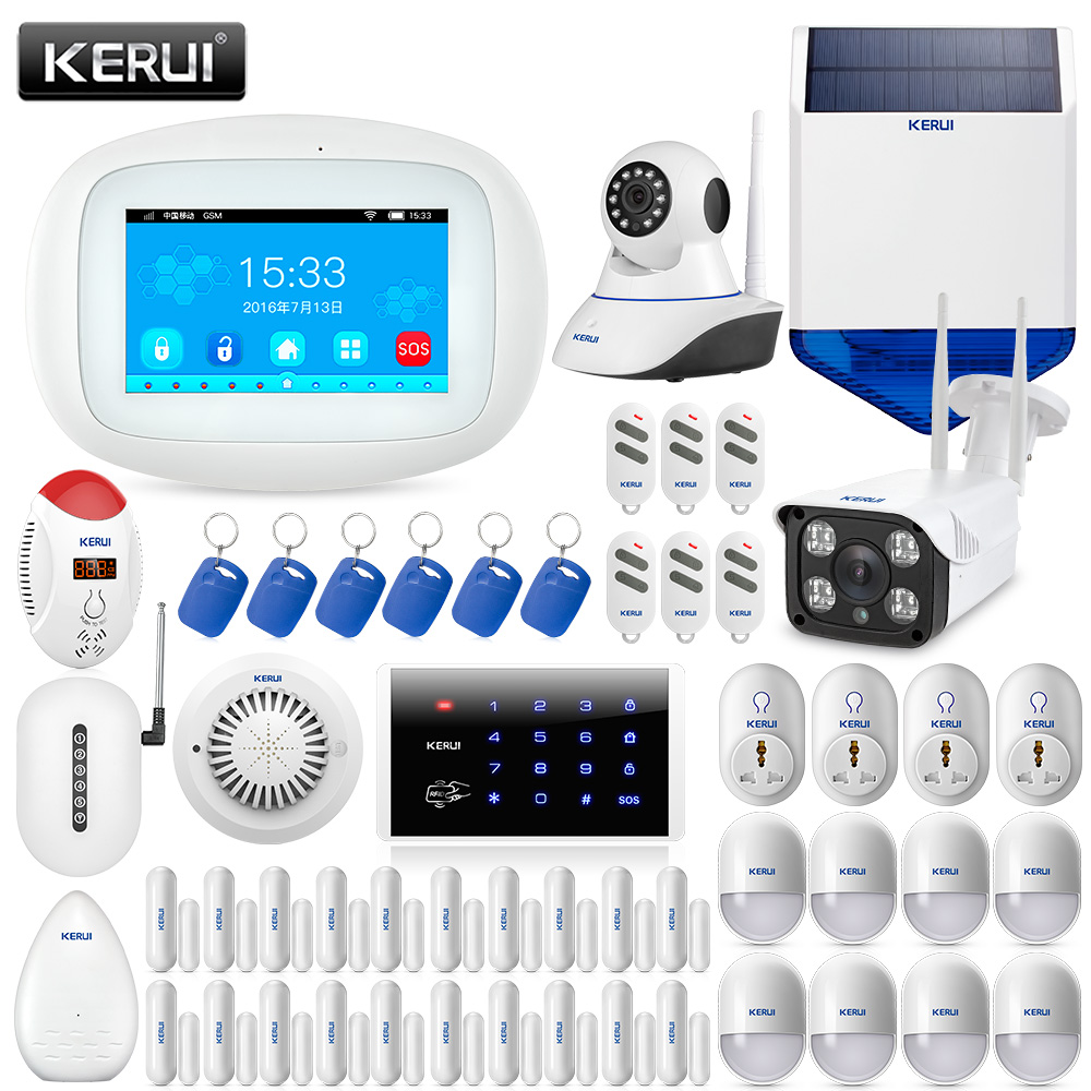 Kerui 8218g Dual-network Gsm Pstn Home Alarm Security System With Motion Smoke Sensor Wired Siren And Ip Camera Door Magnet Safe Security & Protection