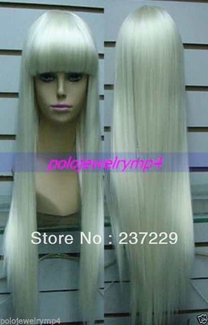 Wholesale price FREE SHIPPING ^^^^NEW LONG PALE BLONDE HAIR STRAIGHT WIGS