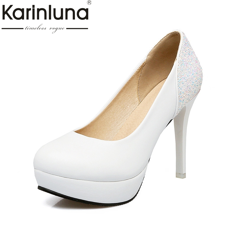 KarinLuna 2018 Spring Autumn Bling Glitter Date Pumps Platform Shallow Wedding Shoes Woman Plus Size 31-45 Women Lady Shoe мужские ботинки spring autumn hightop size38 45 2