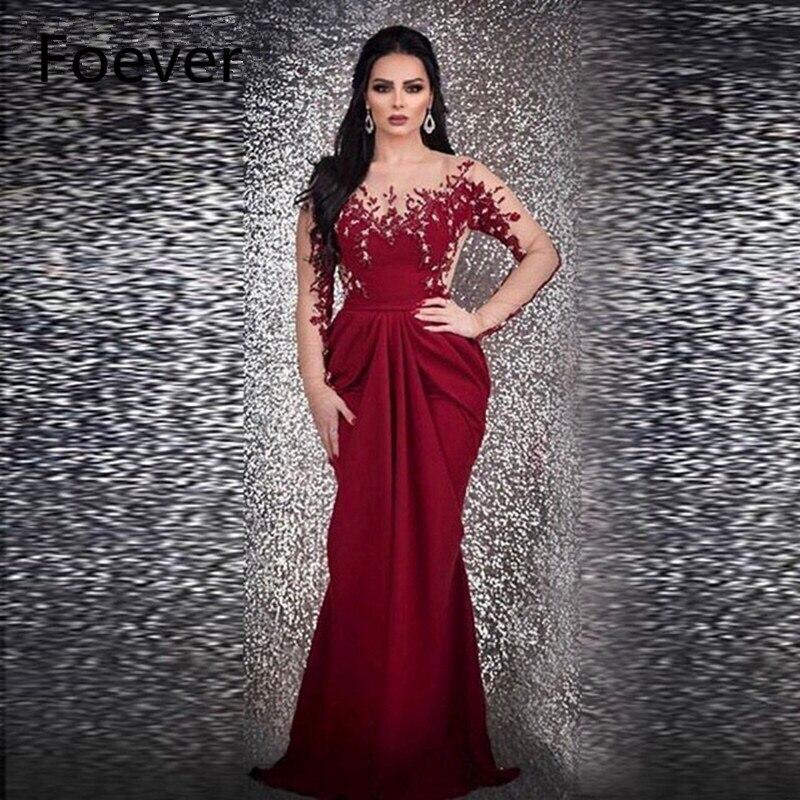 Nouveauté manches longues robe de soirée bordeaux sirène 2019 Robe longue caftan Dubai robe formelle Robe de soirée robe de soirée