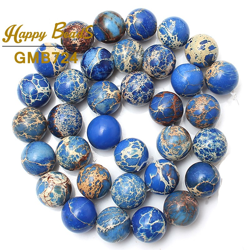 Batu alam biru Sedimen Laut Jaspe Longgar Spacer Beads 15.5