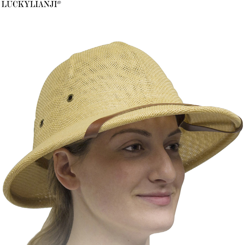 ff43038f Detail Feedback Questions about LUCKYLIANJI Women's Men's Novelty Toquilla Hard  Straw Helmet Pith Sun Hats For War Army Sun Hat Safari Jungle Miners Cap 56  ...
