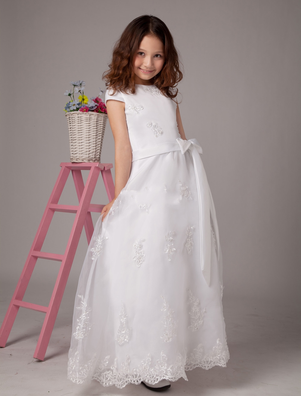 Hot sale cheap white ivory lace flower girl dress girls pageant hot sale cheap white ivory lace flower girl dress girls pageant dresses with sash bow vestido para daminha applique gown izmirmasajfo