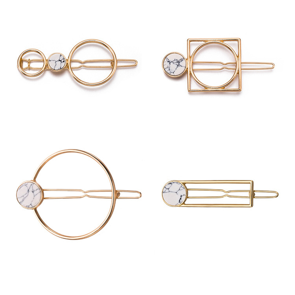 2019 Fashion Women Girls Metal Circle Square Hair Clips Natural Stone Hairpins Barrettes Wedding Hair Clip Accessories Dropship