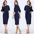 Hot Sale 2016 Autumn Dress Fashion Brief Straight Solid Half Lantern Sleeve Bow Knee-Length O-Neck Women Dress
