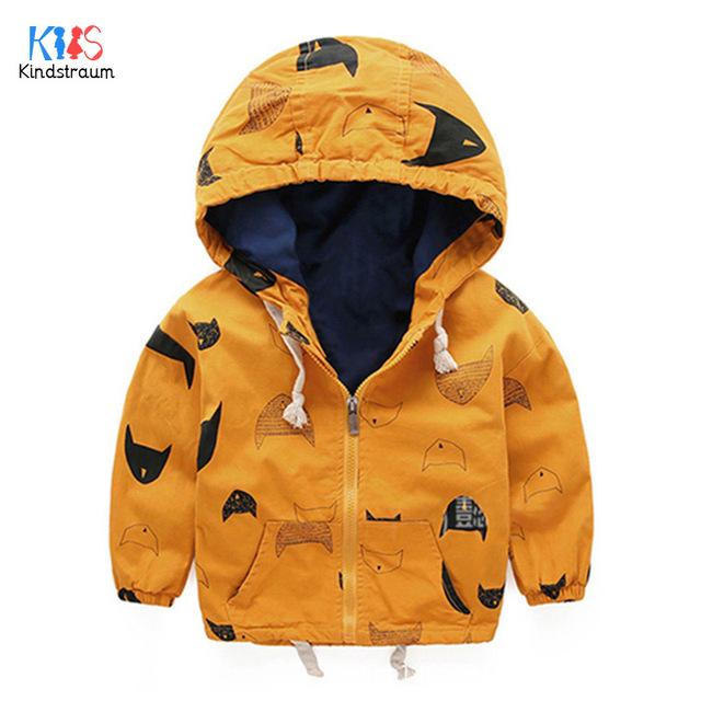 Kindstraum 2017 nueva 18m-8y niños abrigos moda niños bombardero chaqueta con capucha cazadora de primavera y otoño muchachos outerwears, rc882