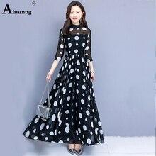 2019 New Vintage Black Polka Dot Ruffle Hem Fishtail Female Dress Women Spring Autumn High waist Casual Office Lady The Dress