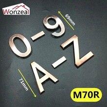 Высота 70 мм 0123456789A-Z бронзовый цвет пластиковая табличка номер дом отель дверь адрес стикер с цифрами табличка знак ABS пластик