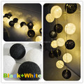 Negro Mixed + BATERÍA blanco Bola de Algodón Luces de colores LED 20 Bolas De Luz Utiliza 3 x AA