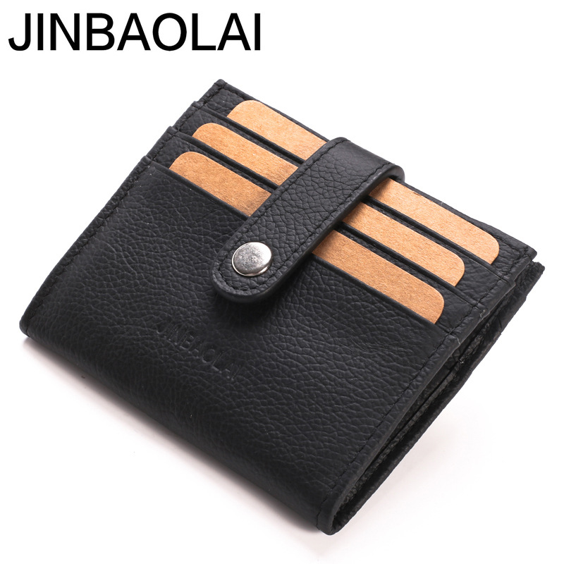 JINBAOLAI Casual Men Wallets 100% Genuine Leather Purse Multi-Card Bit Short Wallet Soft Solid Male Coin Purses Cowhide Wallet